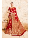 Gorgeous Red Designer Wedding Wear Silk Saree