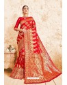 Incredible Red Designer Zari Print Work Silk Saree