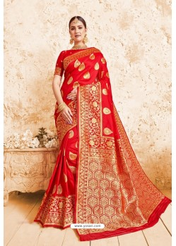 Decent Red Designer Wedding Wear Silk Saree