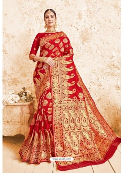 Magical Red Designer Zari Print Work Silk Saree