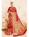 Magical Red Designer Zari Print Work Silk Saree
