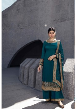 Teal Designer Satin Georgette Palazzo Suit