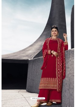 Red Designer Satin Georgette Palazzo Suit
