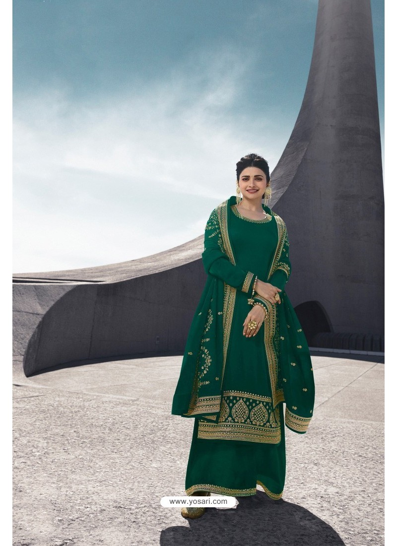 Dark Green Designer Satin Georgette Palazzo Suit