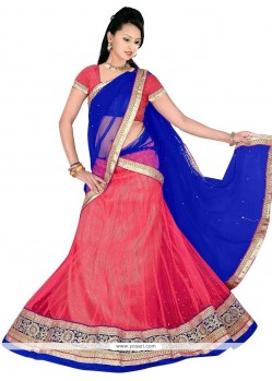 Lively Red And Blue Net A Line Lehenga Choli
