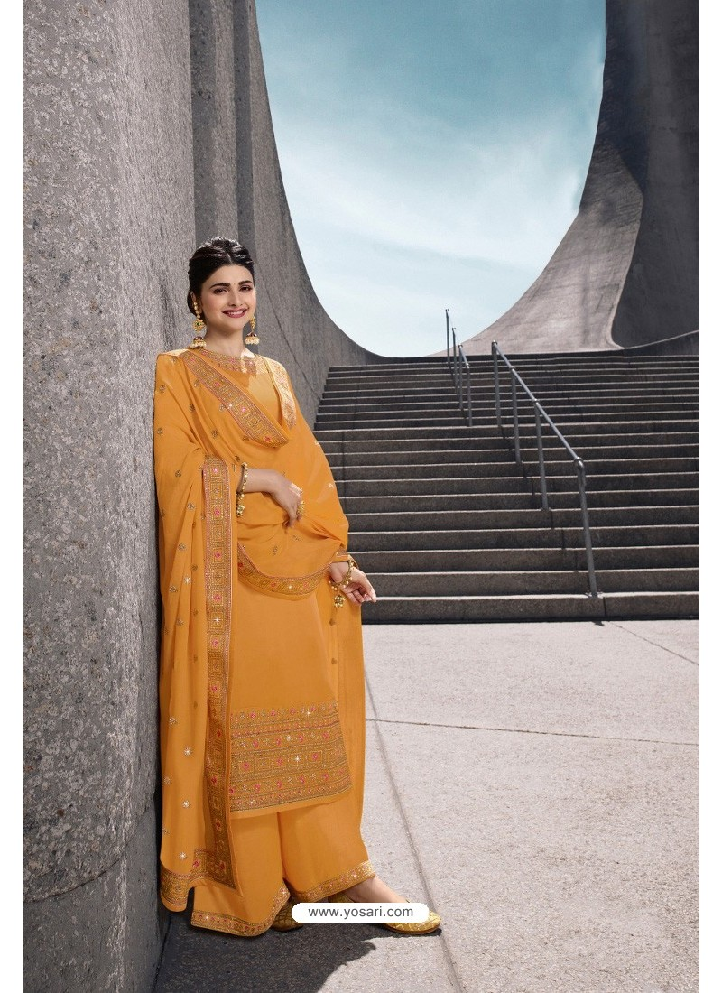 Yellow Designer Satin Georgette Palazzo Suit