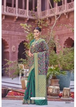 Dark Green Designer Party Wear Weaving Silk Saree