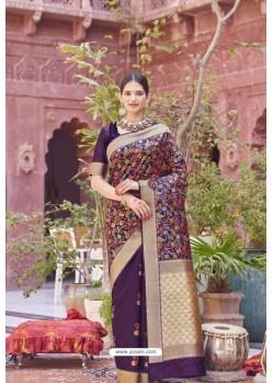 Purple Designer Party Wear Weaving Silk Saree