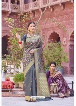 Grey Designer Party Wear Weaving Silk Saree