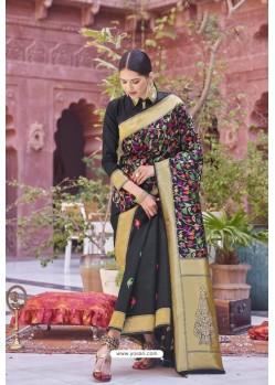 Black Designer Party Wear Weaving Silk Saree