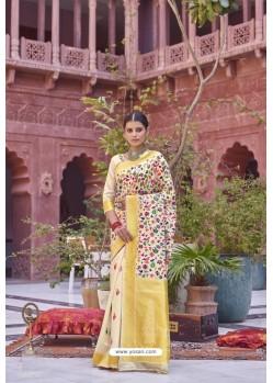 Off White Designer Party Wear Weaving Silk Saree