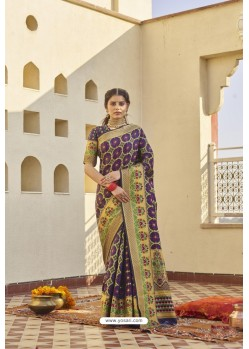 Purple Classic Party Wear Weaving Silk Saree
