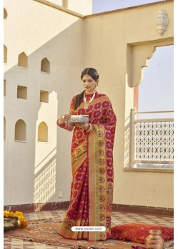 Red Classic Party Wear Weaving Silk Saree
