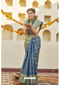 Blue Classic Party Wear Weaving Silk Saree