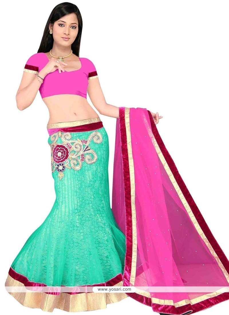 Integral Hot Pink And Sea Green Net A Line Lehenga Choli