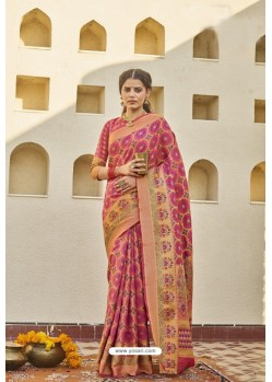Rani Pink Classic Party Wear Weaving Silk Saree