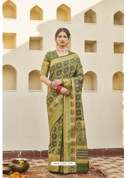 Green Classic Party Wear Weaving Silk Saree