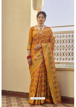 Orange Classic Party Wear Weaving Silk Saree