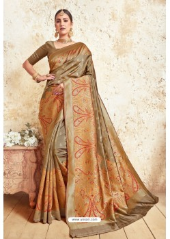 Copper Gold Weaving Silk Designer Saree