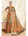 Copper Gold Weaving Silk Designer Saree