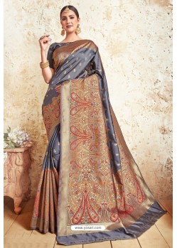 Pigeon Blue Weaving Silk Designer Saree
