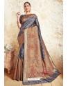 Pigeon Blue Weaving Silk Designer Saree