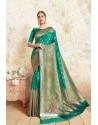 Teal Weaving Silk Designer Saree