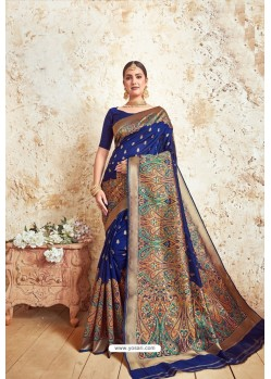 Navy Blue Weaving Silk Designer Saree