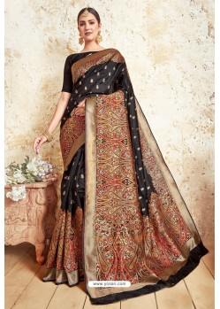 Black Weaving Silk Designer Saree