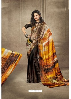 Coffee and Multi Colour Designer Digital Printed Saree