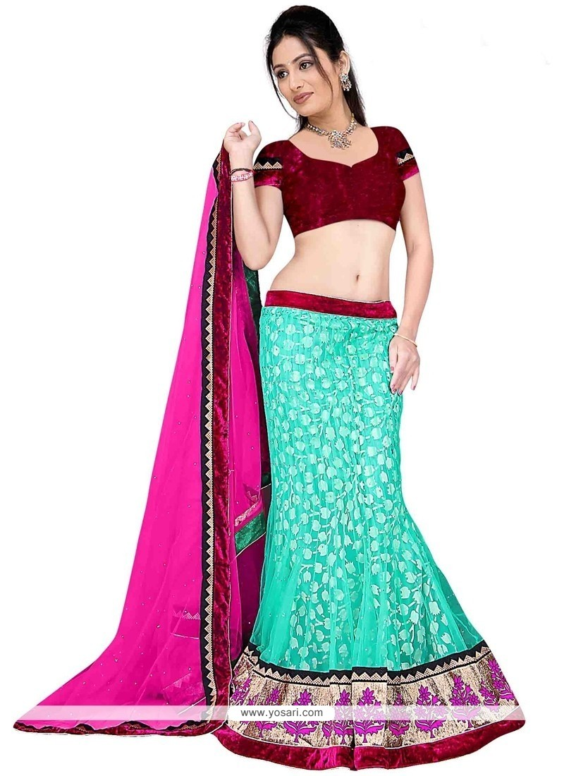 Aristocratic Net Hot Pink And Sea Green A Line Lehenga Choli