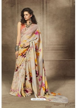 Light Beige Designer Digital Printed Saree