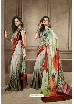 Sea Green and Multi Colour Designer Digital Printed Saree