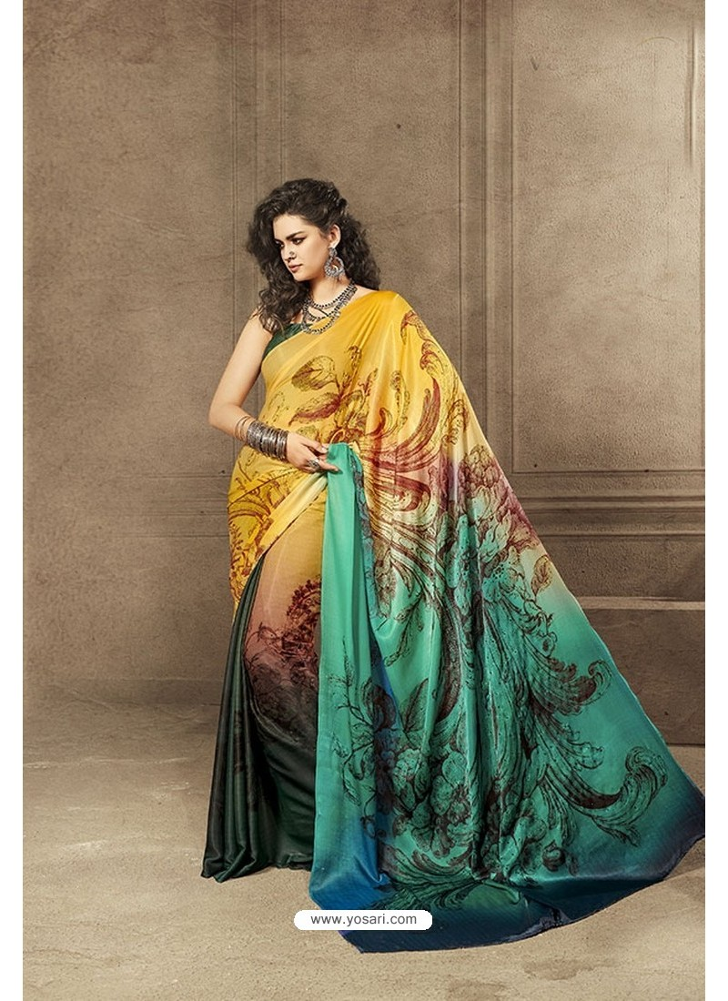 Yellow and Multi Colour Designer Digital Printed Saree