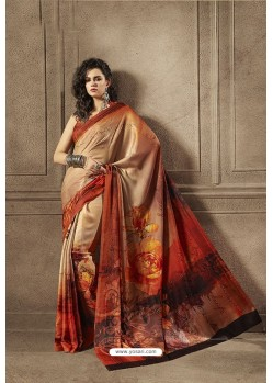 Light Red Multi Colour Designer Digital Printed Saree