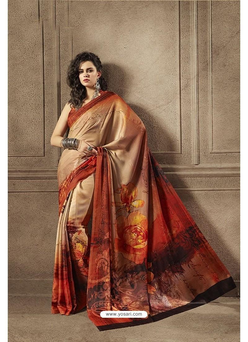 Light Red Multi Colour Designer Digital Printed Saree
