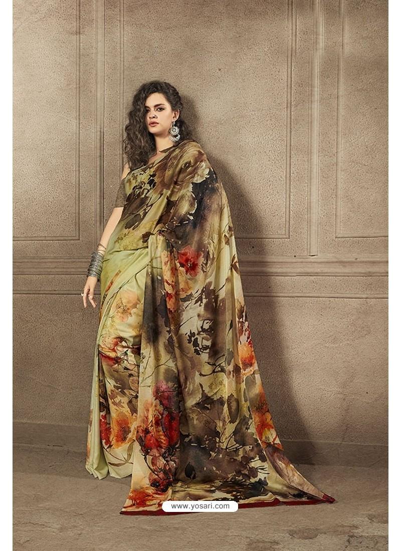 Stylish Multi Colour Designer Digital Printed Saree