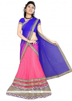 Distinctively Net Patch Border Work A Line Lehenga Choli