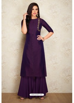 Purple Silk Hand Worked Party Wear Kurti