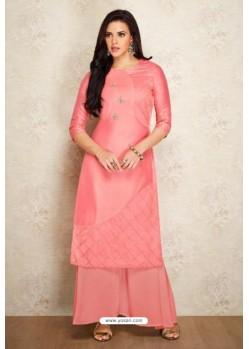 Pink Silk Hand Worked Party Wear Kurti