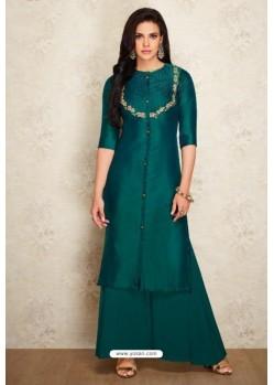 Decent Dark Green Silk Hand Worked Party Wear Kurti