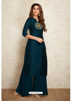 Peacock Blue Silk Hand Worked Party Wear Kurti