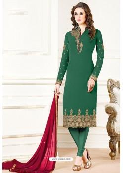 Dark Green Georgette Designer Churidar Suit