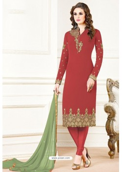 Red Georgette Designer Churidar Suit
