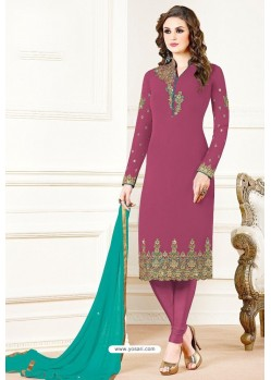 Medium Violet Georgette Designer Churidar Suit