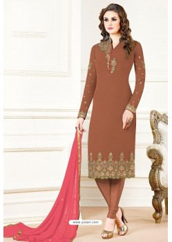 Brown Georgette Designer Churidar Suit