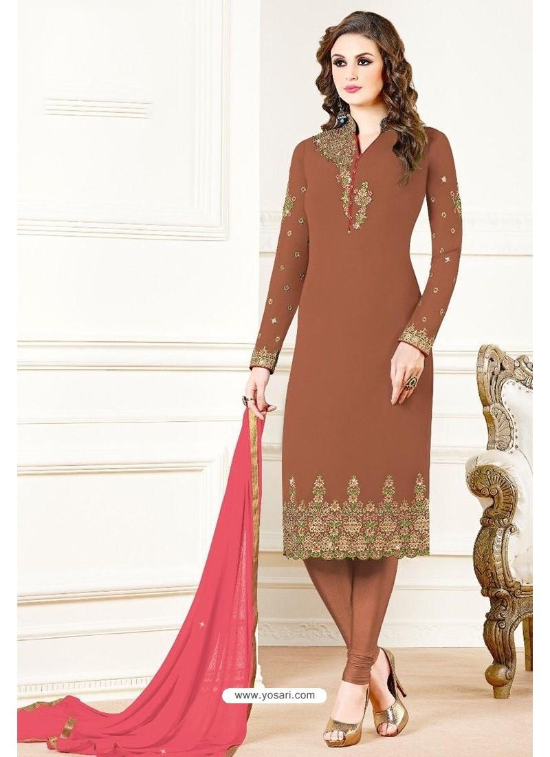 Brown Georgette Designer Churidar Suit