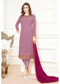 Lavender Georgette Designer Churidar Suit