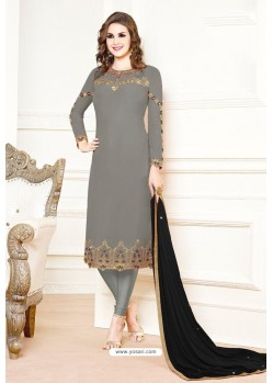Grey Georgette Designer Churidar Suit
