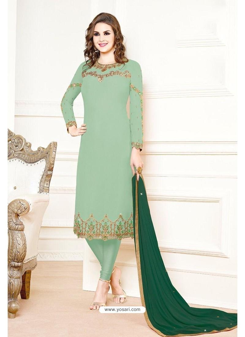 Sea Green Georgette Designer Churidar Suit
